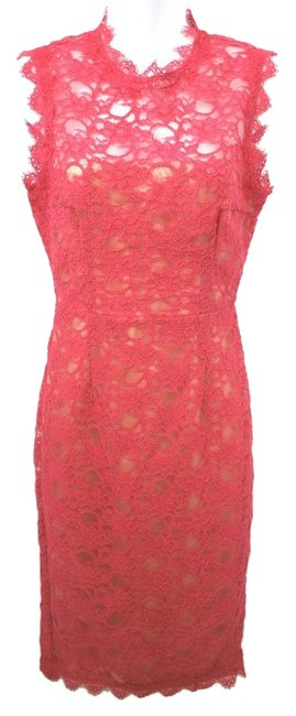 Preload https://img-static.tradesy.com/item/10296805/mikael-aghal-rose-sleeveless-lace-sheath-mid-length-night-out-dress-size-6-s-0-1-650-650.jpg