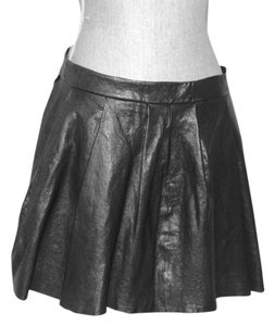 Thakoon Addition Pleated Mini Leather Mini Skirt Black