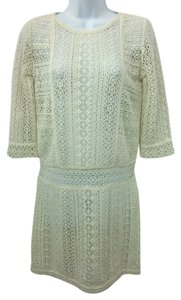 Maje short dress OFF-WHITE Lace Cotton Shift on Tradesy