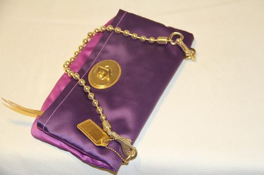 Coach Satin Gold Hardware Purple Clutch