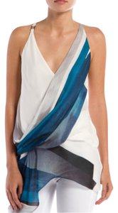 Helmut Lang Asymmetrical Twist Racerback V-neck Semi-faux Wrap Silk Blue White Black Summer Spring Vacation Head Sexy Classy Top