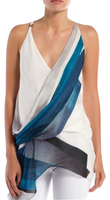 Helmut Lang Asymmetrical Twist Racerback V-neck Semi-faux Wrap Silk Blue White Black Summer Spring Vacation Head Turner Sexy Top Image 0