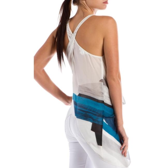Helmut Lang Asymmetrical Twist Racerback V-neck Semi-faux Wrap Silk Blue White Black Summer Spring Vacation Head Turner Sexy Top Image 3