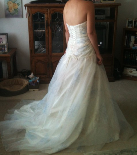 David's Bridal Ivory with Pink Peach Light Blue Floral Print Organza Strapless Ball Gown Vintage Wedding Dress Size 4 (S)