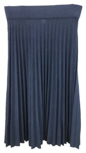 St. John Pleated Knit 4 Skirt NAVY BLUE
