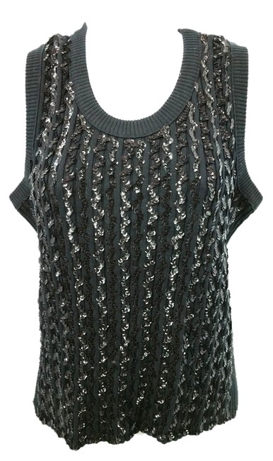 Sonia Rykiel Embellished Knit 46 Top BLACK