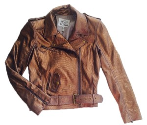 Skaist Taylor Moto Leather Embossed Bronze Leather Jacket