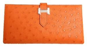 Hermès HERMES ORANGE OSTRICH BEARN WALLET