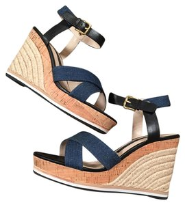 French Connection Blue and Black Wedges