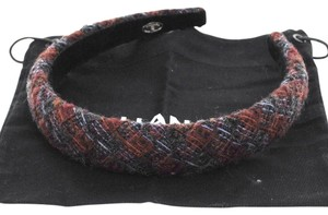Chanel AUTH CHANEL CC LOGOS HEAD BAND HAIR ACCESSORIES RED TWEED FRANCE VINTAGE K05515