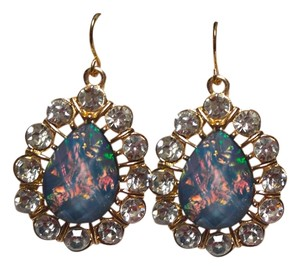 New Blue Green Crystal Gold Tone Dangle Earrings Large Jewelry J1765