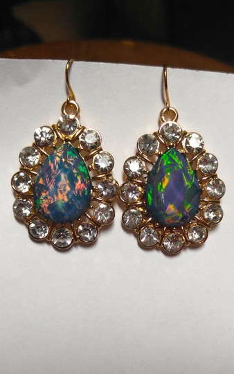 Other New Blue Green Crystal Gold Tone Dangle Earrings Large Jewelry J1765
