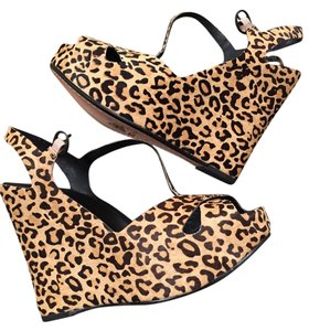 Matiko Leopard real pony Hair. Wedges