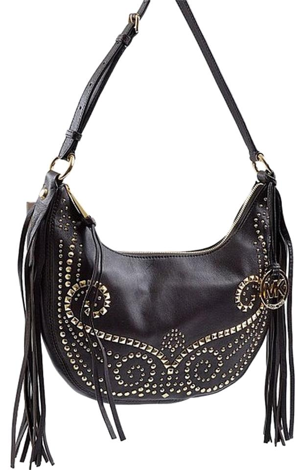 a391cac1fc4e Michael Kors Rhea Studded Small Slouchy Leather Shoulder Cross Body Bag  Image 0 ...