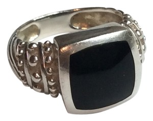 Other Sterling Silver and Onyx Yurman Style Ring
