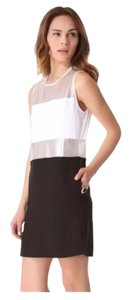 L'AGENCE Black And White Mesh Shift Dress