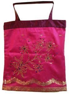 Laundry by Shelli Segal Embroidered Sequins Metallic Light Pink Tote in Fuscia