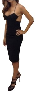 Céline Lbd Spaghetti Straps V-neck Open Back Knee Length Silk Black Dress