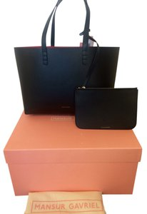 Mansur Gavriel Tote in Black with flamma(red) interior