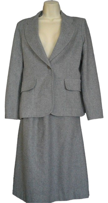 Loubella Extendables Gray Loubella Extendable Medium M Wool Skirt Jacket 2 Piece Suit