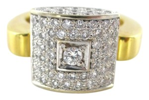 18K SOLID YELLOW GOLD RING 77 PAVE DIAMONDS 1.10 CARAT SQUARE CLUSTER SIZE 6.5