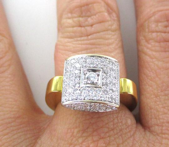 Other 18K SOLID YELLOW GOLD RING 77 PAVE DIAMONDS 1.10 CARAT SQUARE CLUSTER SIZE 6.5