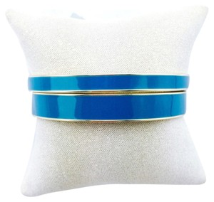 Lydell NYC Lydell nyc Blue Enamel Gold Double Bangle Bracelet Set New