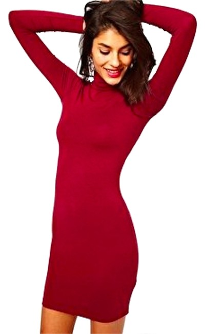 Preload https://item4.tradesy.com/images/asos-red-burgundy-turtleneck-bodycon-mini-short-casual-dress-size-4-s-10301338-0-1.jpg?width=400&height=650
