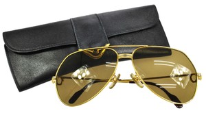 Cartier Authentic CARTIER Logos Reading Glasses Eye Wear Sunglasses Brown Gold A19724