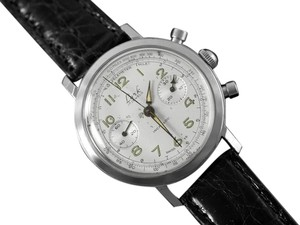 Continental Watch Co. 1960's Vintage Oversized 38.5mm Professional & Sporting Mens Chronograph Watch - Stainless Steel