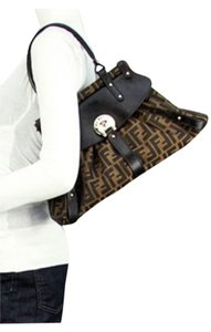 Fendi Brand New Leather Canvas Logo Zucca Print Shoulder Bag