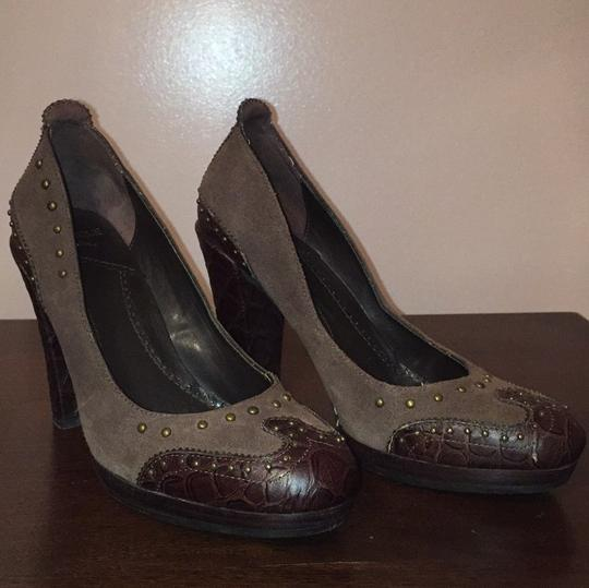 SE Boutique by Sam Edelman Designs Boho Chunky Heel Alligator Suede Brown Platforms