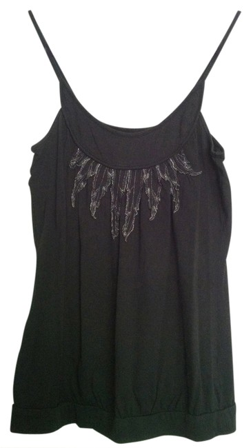 Silence + Noise Silver Feathers Top Black