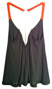 Lucca Couture Top Charcoal Grey, Creme, and Orange