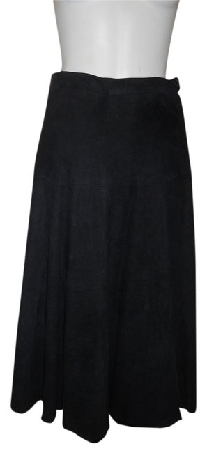 Saks Fifth Avenue Vintage Leather Suede Skirt black