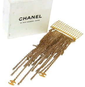 Chanel Authentic CHANEL Vintage CC Logos Fringe Chain Ornamental Hairpin NR05320