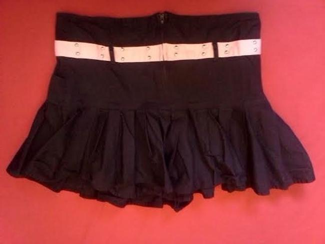Super Low Fat Gothic Punk Studded Mini Skirt Black