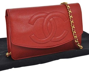 Chanel Auth CHANEL CC Chain Shoulder Wallet Bag Red Caviar Skin Leather VTG SN00689