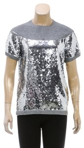 Chanel Chanel Gray Short Sleeve Sequin Knit CC Top (Size M)