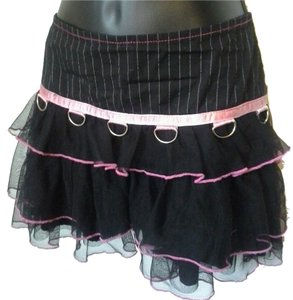 SERIOUS La Gothic Punk Ruffle Mini Mini Skirt Black