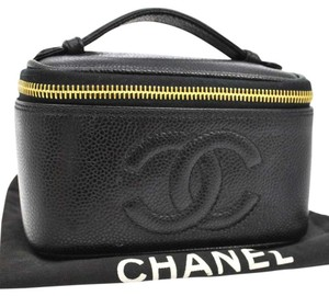 Chanel Auth CHANEL CC Cosmetic Vanity Hand Bag Black Caviar Leather Vintage AK05678