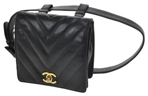 Chanel Auth CHANEL Quilted CC Logos Bum Bag Black Caviar Skin Leather Vintage AK06353