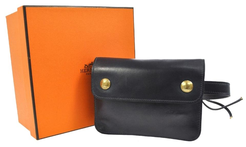 ace57e7b0d Hermès Authentic HERMES Pochette Green Bum Bag Navy Box Carf Vintage France  AK05254 Image 0 ...