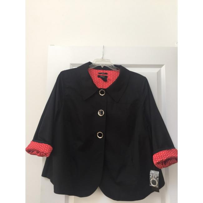 Style & Co Black & Red Polka Dot Jacket