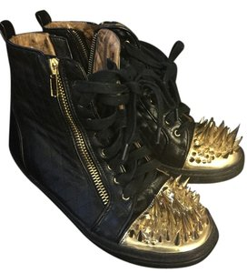 Jeffrey Campbell Black and Gold Boots