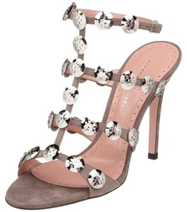 Alexandra Neel Gladiator Suede Metal Grey Sandals