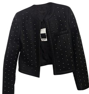 Mango Leather Moto Studded Black and Gunmetal Leather Jacket