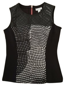 Bisou Bisou Edgy Leather Sleeveless Top Black and White and Pink