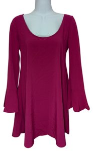 Bar III Berry Radiant Berry Bell Sleeve Short Above Knee Small Dress