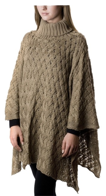 Preload https://item3.tradesy.com/images/taupe-knit-turtleneck-ponchocape-size-os-one-size-10306177-0-1.jpg?width=400&height=650